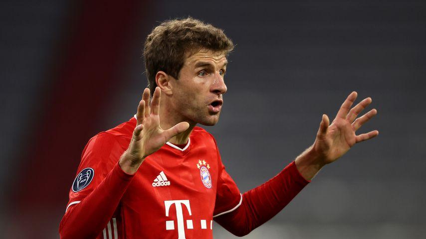Thomas Müller beim Spiel des FC Bayern München gegen Atlético Madrid