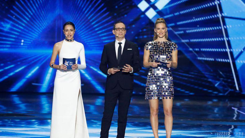 TV-Star Lucy Ayoub, Model Bar Refaeli und Moderator Erez Tal beim ersten ESC-Halbfinale