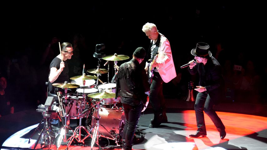 Die Band U2 bei einem Auftritt in Kalifornien