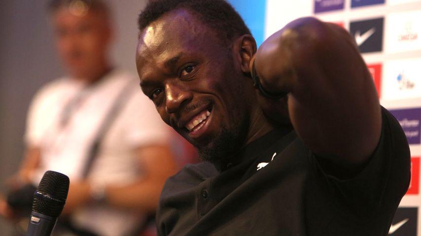 Usain Bolt bei einer Pressekonferenz in London