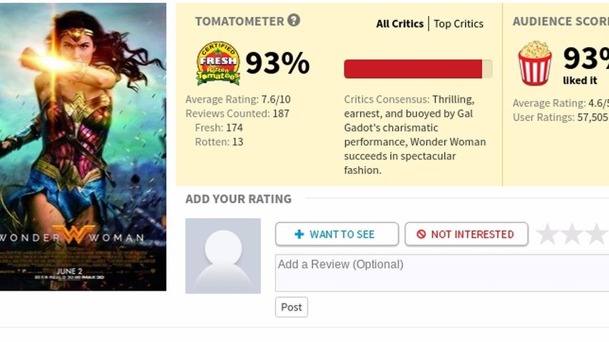"""Wonder Woman"" bei ""Rotten Tomatoes"""