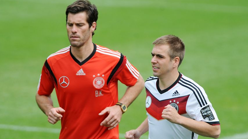 Yann-Benjamin Kugel und Philipp Lahm beim Training