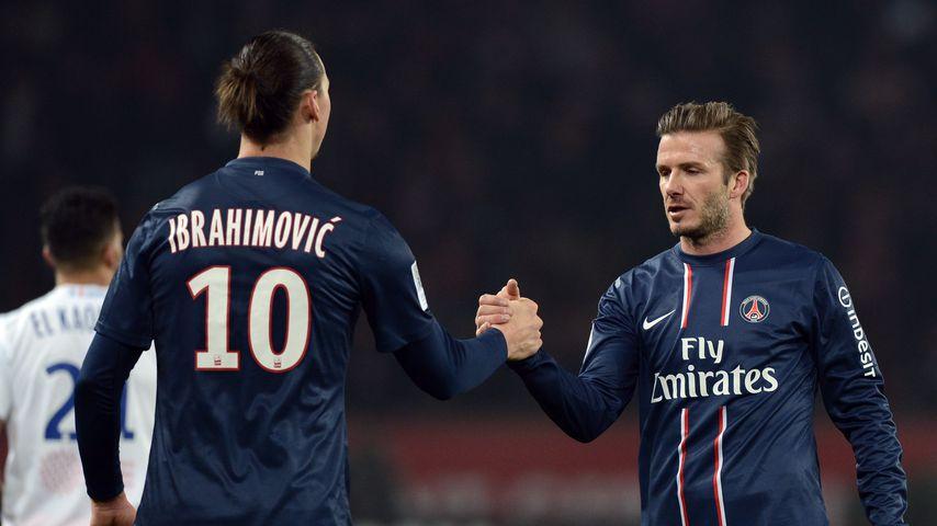 Zlatan Ibrahimovic und David Beckham bei einem Fußballspiel im März 2013