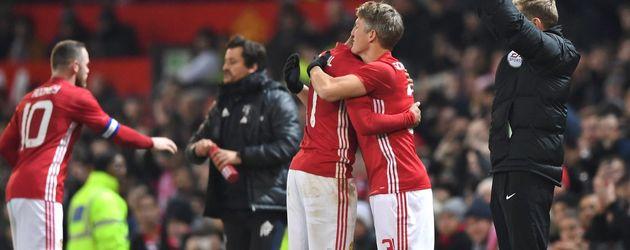 Bastian Schweinsteiger nach dem Spiel in Old Trafford