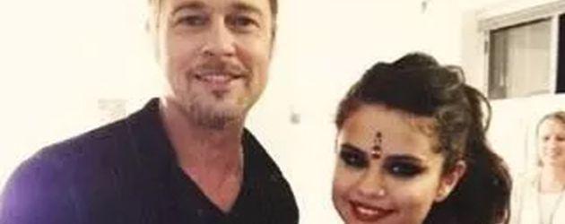 Brad Pitt und Selena Gomez am Filmset