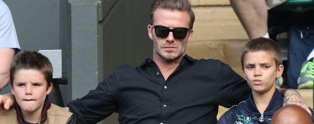 David Beckham mit seinen Söhnen Romeo und Cruz in Wimbledon 2016