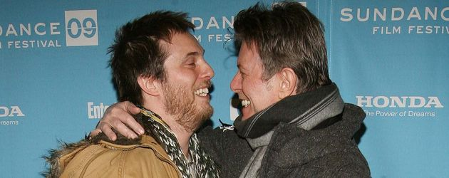 Duncan Jones (l.) und sein Vater David Bowie