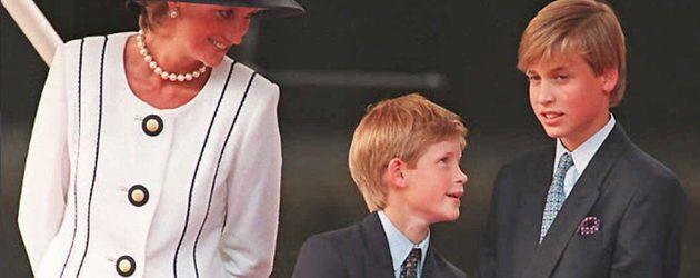 Prinzessin Diana, Prinz Harry und Prinz William 1995 in London