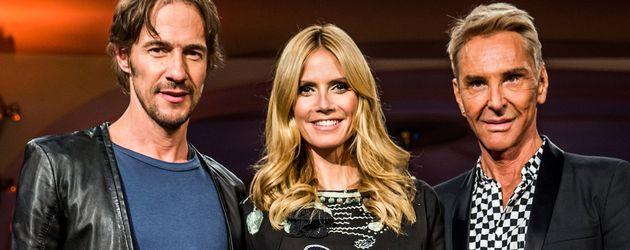 Thomas Hayo, Heidi Klum und Wolfgang Joop als GNTM-Jury 2015