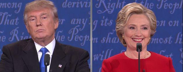 Hillary freut sich beim TV-Duell