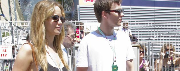 Schauspieler Jennifer Lawrence und Nicholas Hoult in Monaco, 2012