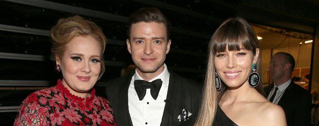 Adele Adkins, Justin Timberlake und Jessica Biel