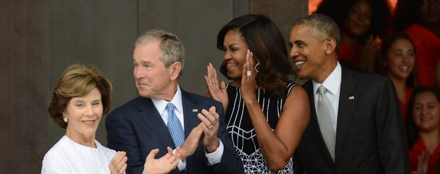 Laura Bush, George W. Bush, Michelle Obama und Barack Obama in Washington