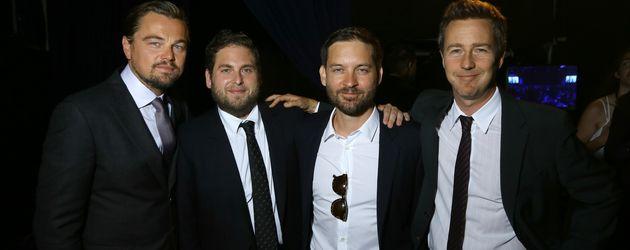 Leonardo DiCaprio, Jonah Hill, Tobey Maguire und Edward Norton (v.l.n.r.)