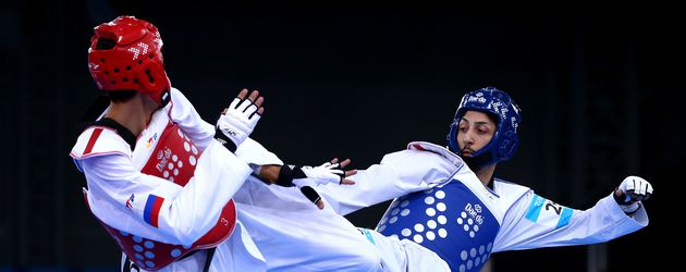 Levent Tuncat während eines Kampfes bei den European Games 2015 in Baku, Aserbaidschan