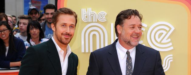 Die Hollywood-Stars Ryan Gosling (l.) und Russell Crowe