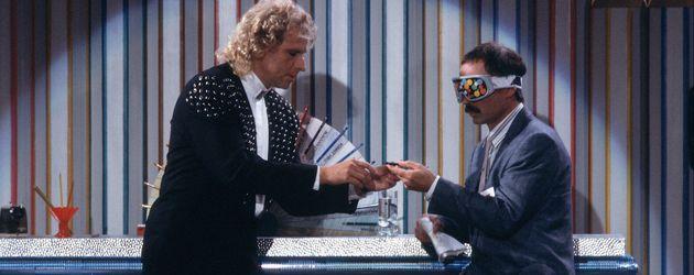 Thomas Gottschalk und Bernd Fritz bei der Buntstiftwette 1988