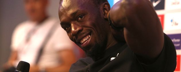 Usain Bolt bei einer Pressekonferenz in London