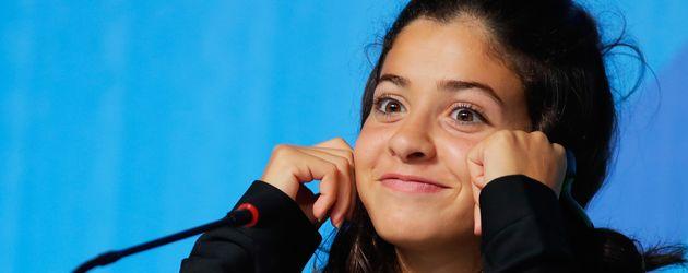 Yusra Mardini bei einer Pressekonferenz im August 2016 bei den Olympischen Spielen